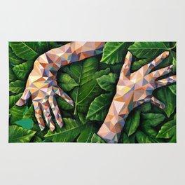 Hands Through Leaves - Brandie Lee - Geometric Shapes - Digital Garden of Eden Rug