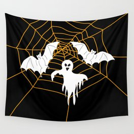 Bats and Ghost white - black color Wall Tapestry