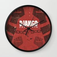 tarantino Wall Clocks featuring Django Unchained -  Quentin Tarantino Minimal Movie Poster by Stefanoreves