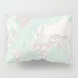 "World map with coral, seaweed and marine creatures, ""Lenore"" Pillow Sham"