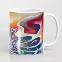 teen titans Mugs featuring Meeting of the Titans by Graham Matthews
