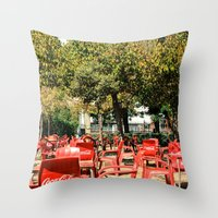 coke Throw Pillows featuring COKE CHAIR COKE CHAIR by Pitter Patterns