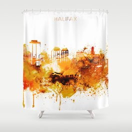 Halifax Canada Red Yellow Skyline Shower Curtain