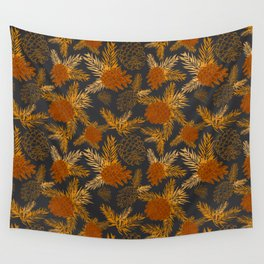 Pinecone Leaves in Black and Burnt Orange Wall Tapestry