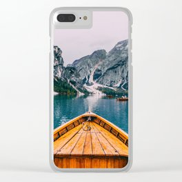 Canoe Mountains (Color) Clear iPhone Case