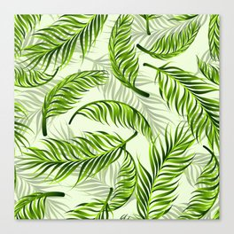 Trendy exotic floral pattern with palm leaves Canvas Print
