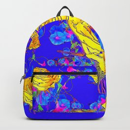 BLUE & YELLOW ROSE BLUE MORNING GLORY FLOWERS  DES Backpack