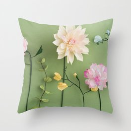 Crepe paper flowers Throw Pillow
