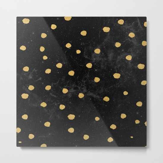 Gold Dots on Black Space Pattern Metal Print
