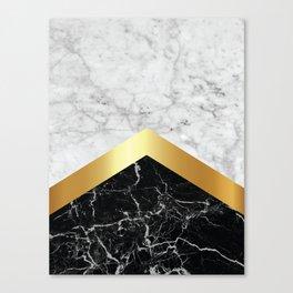 Arrows - White Marble, Gold & Black Granite #147 Canvas Print