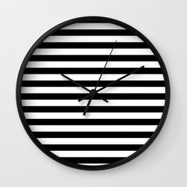 Black and White Horizontal Strips Wall Clock