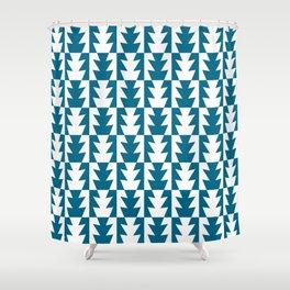 Art Deco Jagged Edge Pattern Peacock Blue Shower Curtain