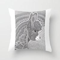 donkey Throw Pillows featuring Donkey by Olya Goloveshkina