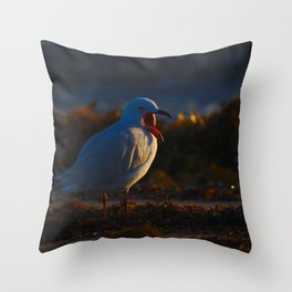 A Seagull With Its Mouth Wide Open At Dawn Throw Pillow