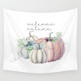welcome autumn orange pumpkin Wall Tapestry