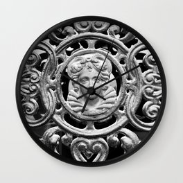 Antique Storm Door Wrought Iron Panel Against Glass With Sculpted Bust Portrait of Young Woman in Ornate Vine and Heart Designs in Black and White Wall Clock