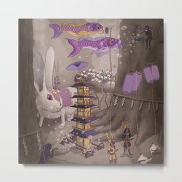 Tanuki Procession Metal Print