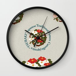 "Japanese Traditional Pattern Japanese camellia ""TSUBAKI""  Wall Clock"