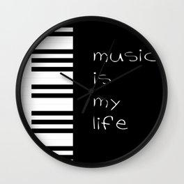 Piano music is my life Wall Clock