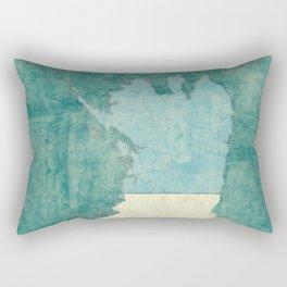 Alaska State Map Blue Vintage Rectangular Pillow