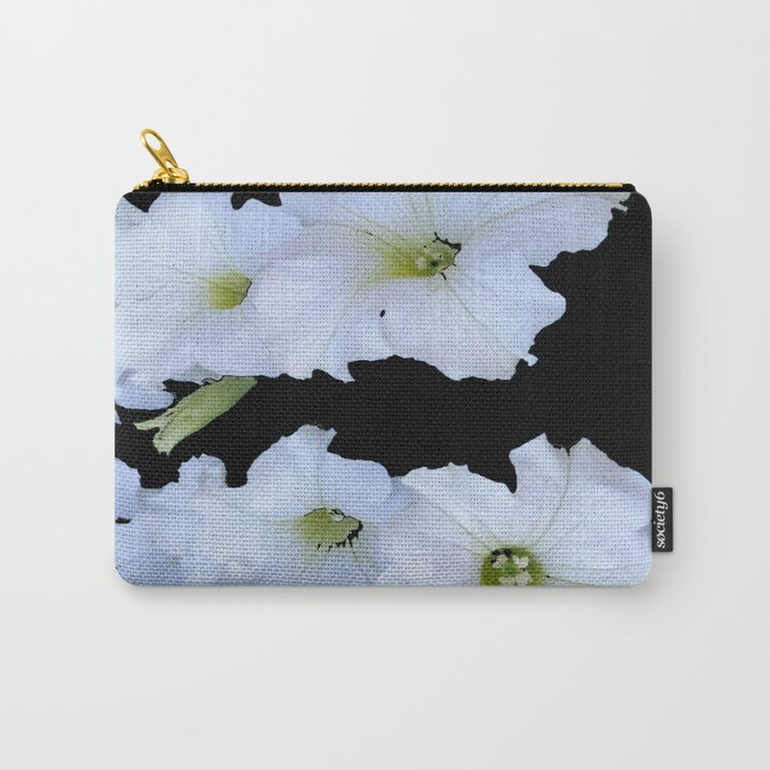 White Garden Petunia Flowers On Black Art Carry-All Pouch