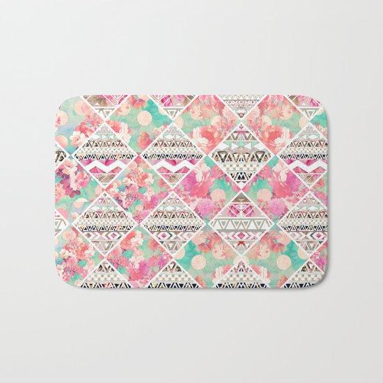 Aztec Floral  Diamond Bath Mat
