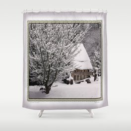 OLD SHED IN SNOW Shower Curtain
