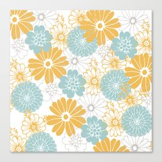 Mustard and tiffany blue flowers Canvas Print