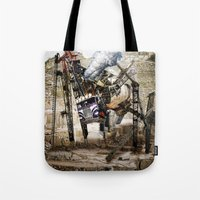 truck Tote Bags featuring Monster Truck by Jonathan Sims
