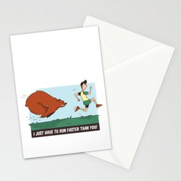 Funny Bear Camping design - Chased By A Bear Outdoors Stationery Cards