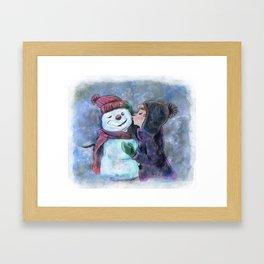 Kiss a snowman Framed Art Print