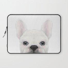 French bulldog white Dog illustration original painting print Laptop Sleeve
