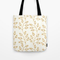 Golden floral pattern on cream Tote Bag