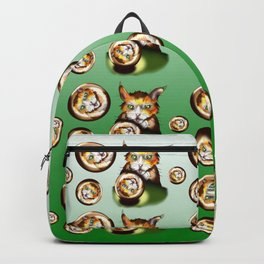Silly ginger cat with a crystal ball Backpack