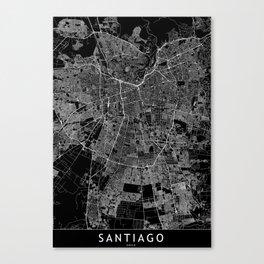 Santiago Black Map Canvas Print