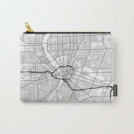 Rochester Map, USA - Black and White Carry-All Pouch