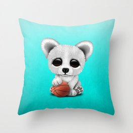 Cute Baby Polar Bear Playing With Basketball Throw Pillow