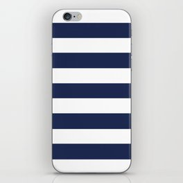 Space cadet - solid color - white stripes pattern iPhone Skin
