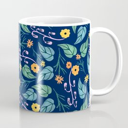 Watercolour dark blue seamless pattern background with whimsical flowers. Coffee Mug