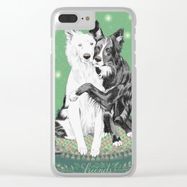 Hugging dogs Clear iPhone Case
