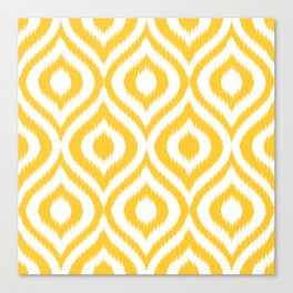 Yellow Ikat Ogee  Canvas Print