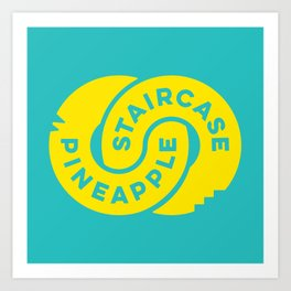 PineappleStaircase   Official Logocolor 2015 in Turquoise/Yellow Art Print