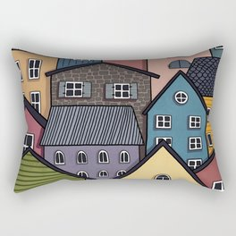 Colourful Town Rectangular Pillow