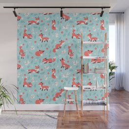 Fox and Bunny Pattern Wall Mural