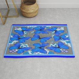 Decorative Blue Shades Butterfly Grey Pattern Art Rug