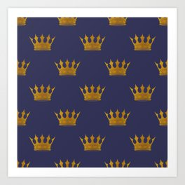 Royal Blue with Gold Crowns Art Print