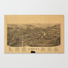 Aerial View of Le Roy, New York (1892) Canvas Print