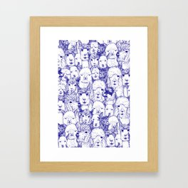 just alpacas blue white Framed Art Print