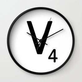 Letter V - Custom Scrabble Letter Tile Art - Scrabble V Initial Wall Clock