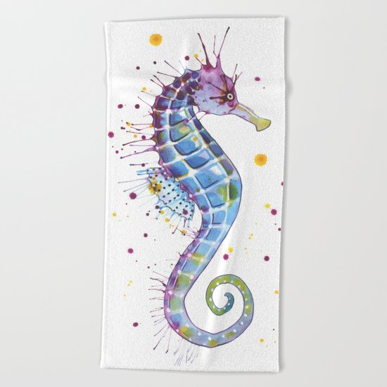 Seahorse: Purple Beach Towel
